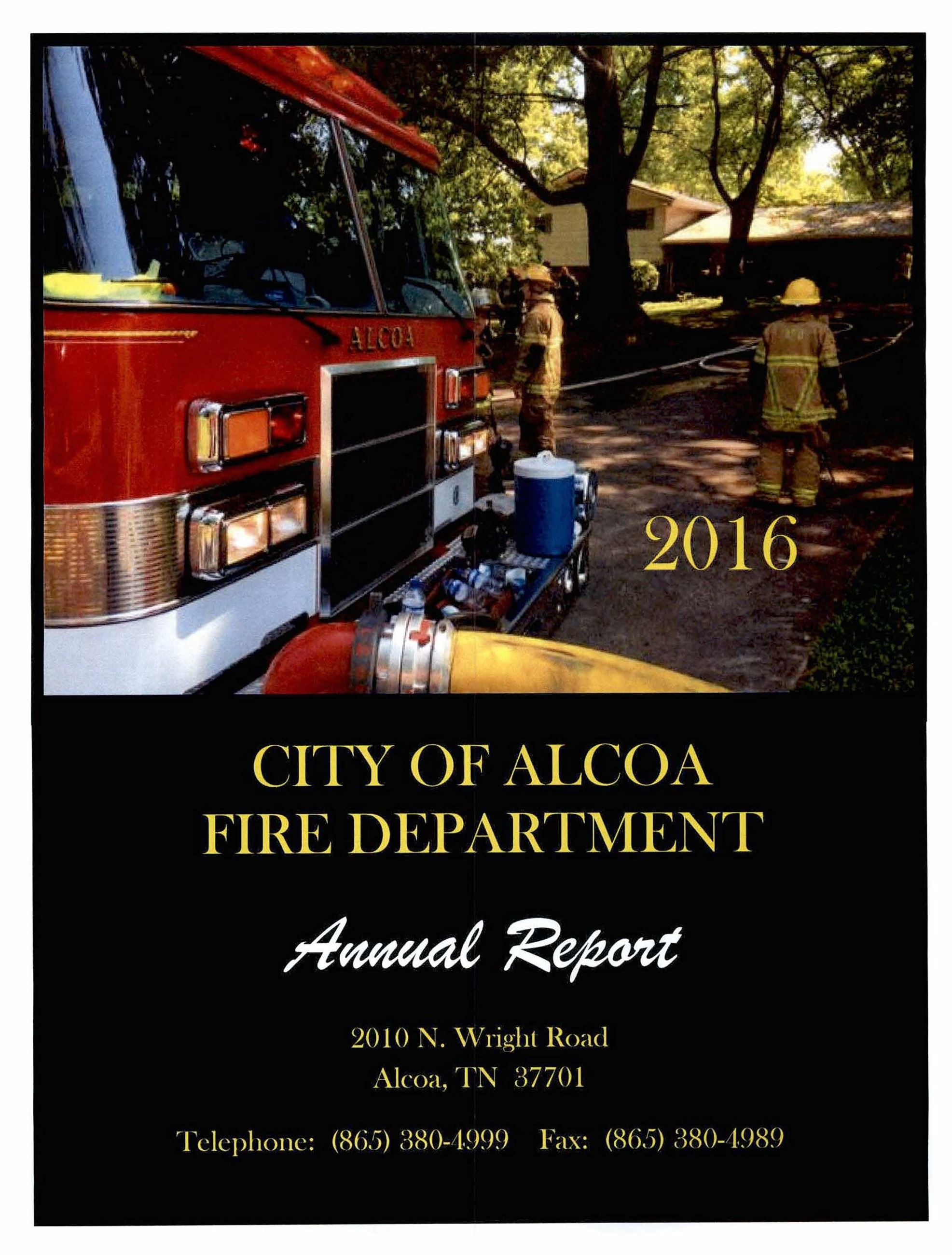 2016 fire department annual report front cover