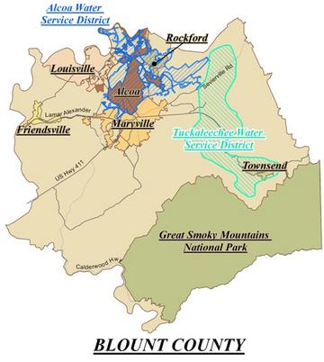 A map of the Alcoa Water Service District.