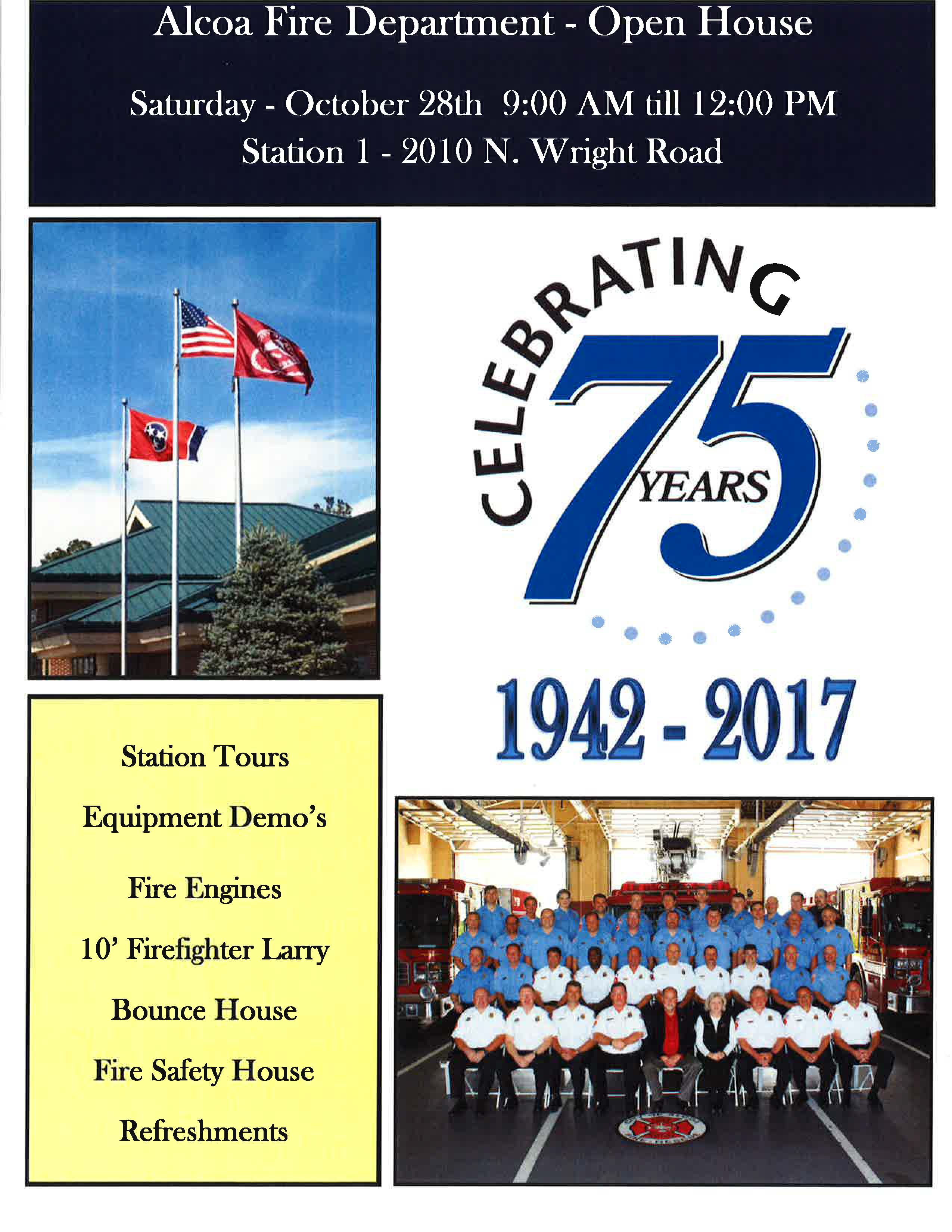 75th Anniversary AFD flyer describing event