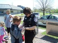 Officer Holly Hatcher promoting playground fun and safety