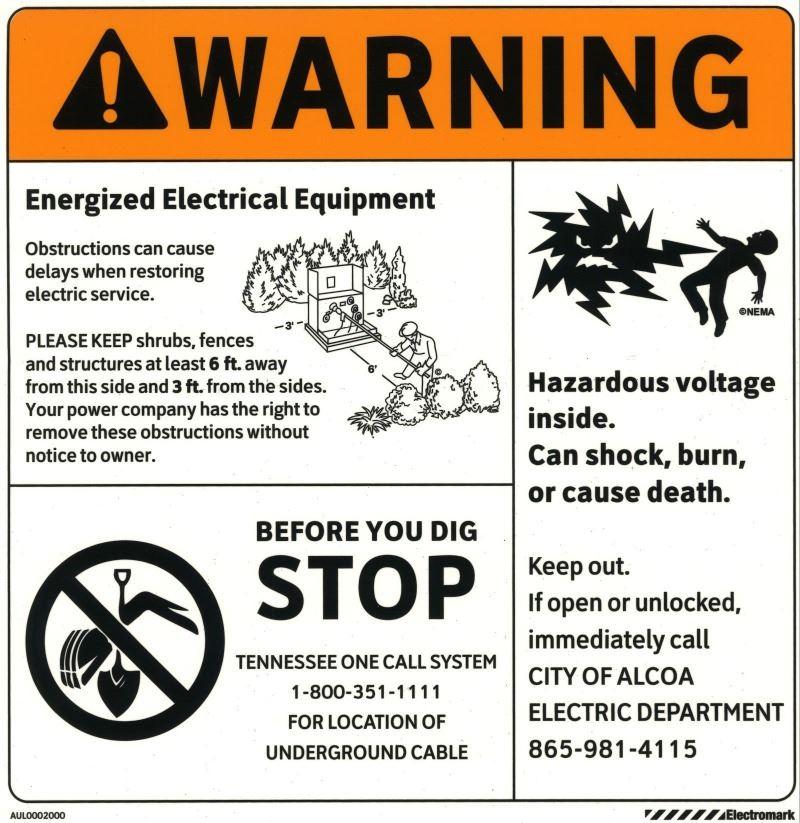 Transformer warning tag COLOR (002)