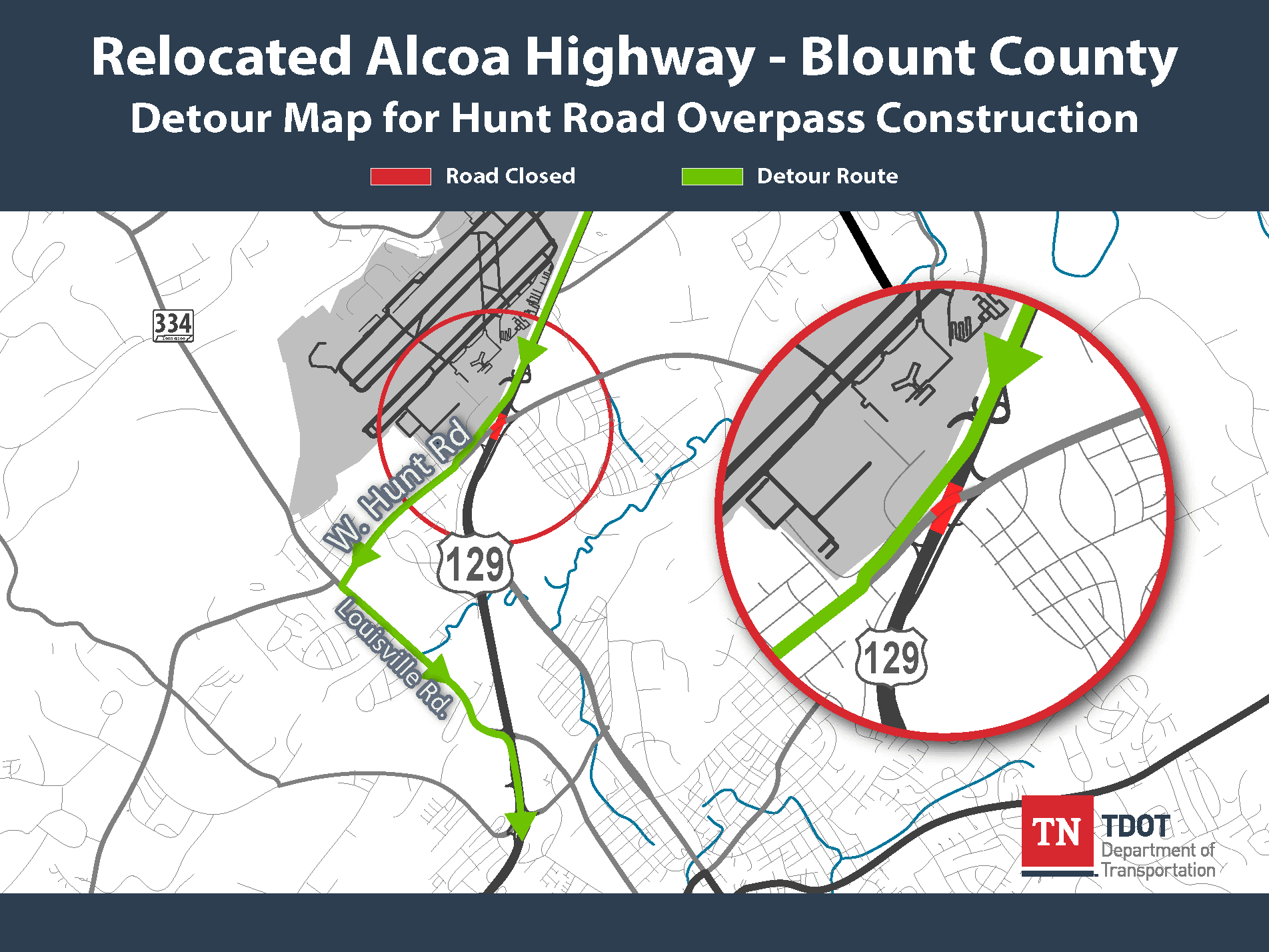 Alcoa Highway Southbound Detour - Hunt Road Overpass Map