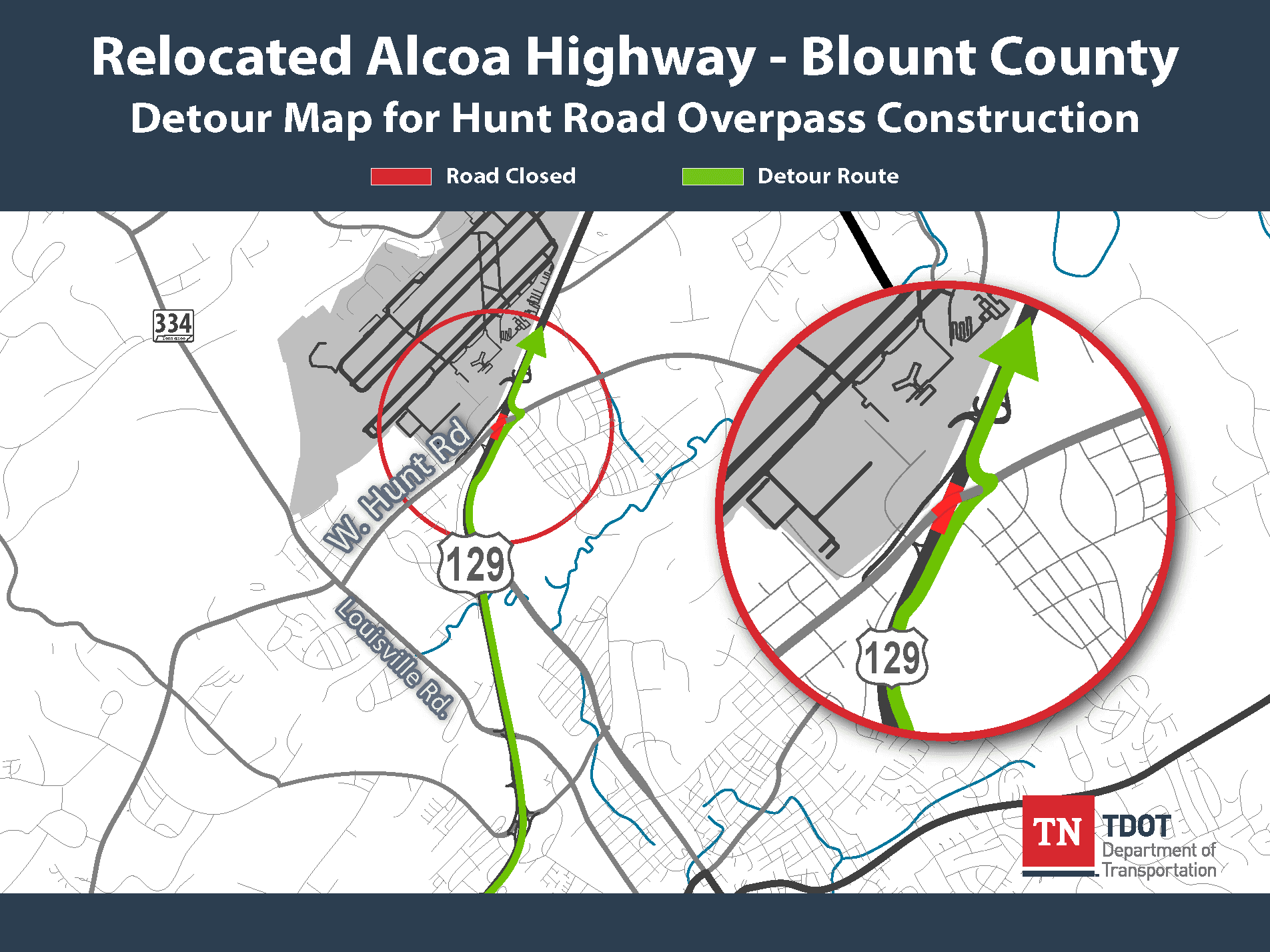 Alcoa Highway Northbound Detour - Hunt Road Overpass Map