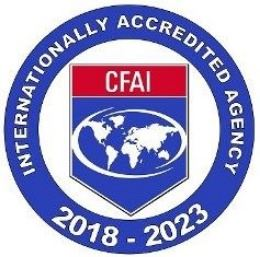Certified fire accreditation red, white and blue logo