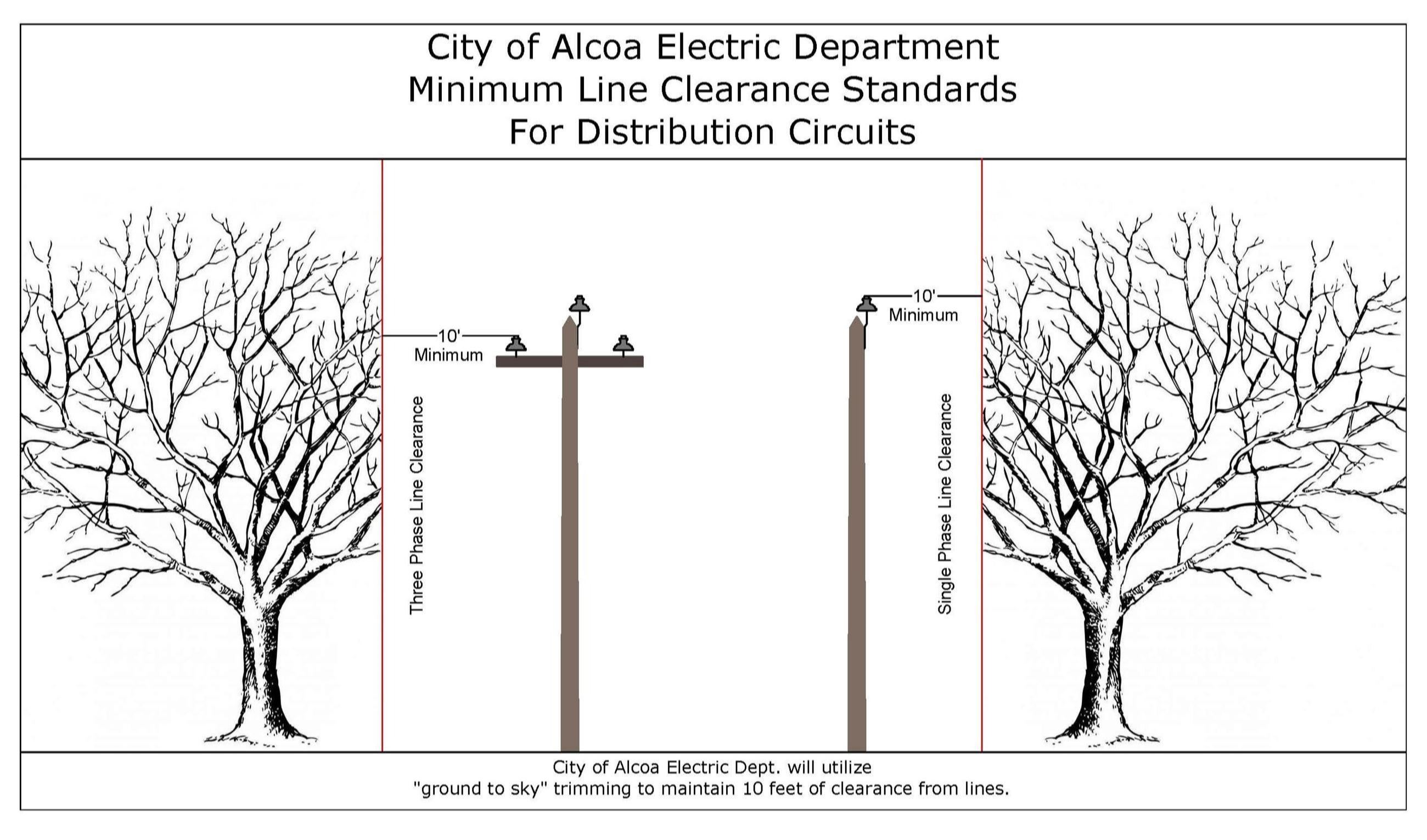 Image of tree & pole & trimming clearance standards - distribution circuits Opens in new window