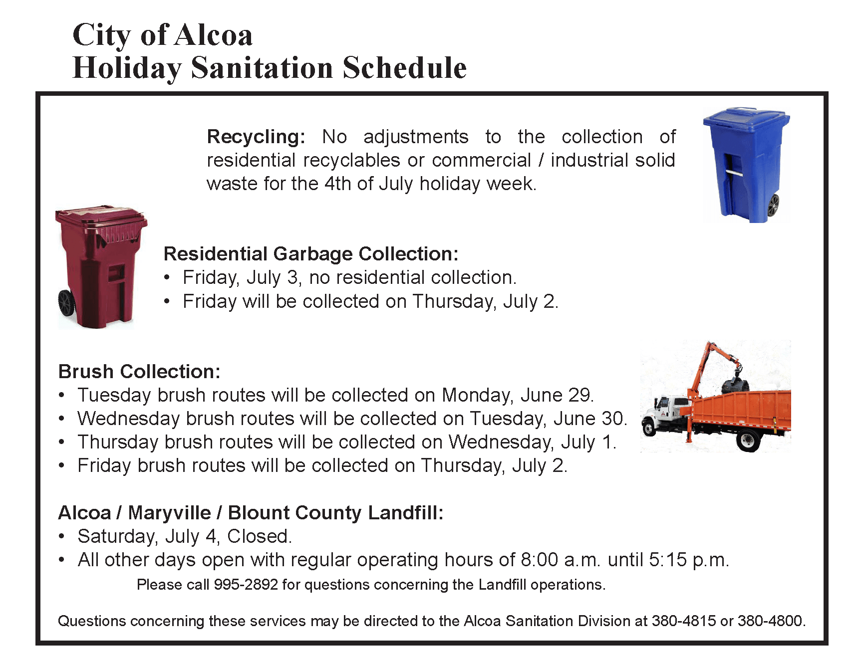 Holiday Sanitation Schedule